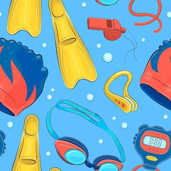 Seamless pattern with hand drawn swimming pool elements