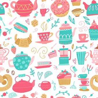 Seamless pattern with hand drawn tea time symbols