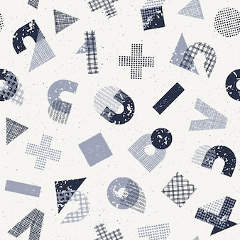 Seamless   pattern with hand drawn textured decorative geometry, mathematics symbols and numerals