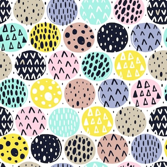 Seamless pattern with hand drawn textures