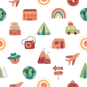 Seamless pattern with hand drawn travel icons.