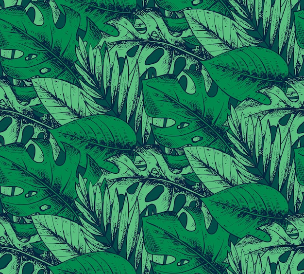 Seamless pattern with hand drawn tropical plants in green colors. summer hawaiian  background.