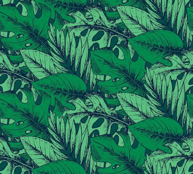 手でシームレスなパターンには、緑の色で熱帯植物が描かれています。夏のハワイの背景。