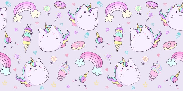 Seamless pattern with hand drawn unicorn in pastel color