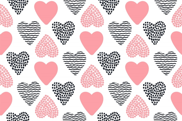 Seamless pattern with hand drawn valentine hearts.