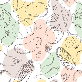 Seamless pattern with hand drawn vegetables and abstract light shapes