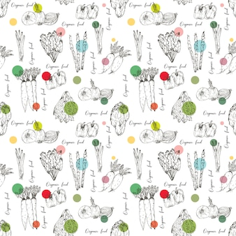 Seamless pattern with hand drawn vegetables background. organic herbs and spices, healthy food drawings pattern vector illustration.