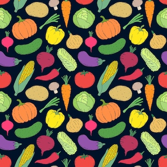 Seamless pattern with hand drawn vegetables on black background