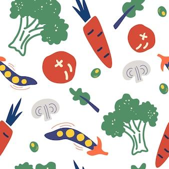 手描き野菜とのシームレスなパターン。ベジタリアン健康食品ベクトルテクスチャ。ビーガン、農場、オーガニック、デトックス。ニュートラルホワイトのビーガン繰り返し背景。