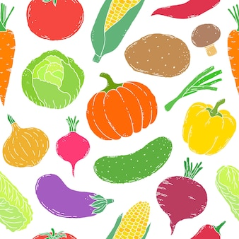 Seamless pattern with hand drawn vegetables on white background