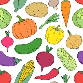 Бесшовный фон с рисованной овощами