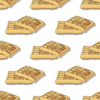 Seamless pattern with hand drawn waffles on a white background.