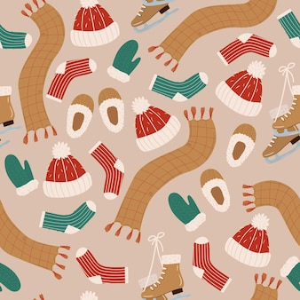Seamless pattern with hand drawn warm winter clothes