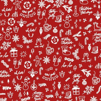 Seamless pattern with hand drawn white christmas elements on red background