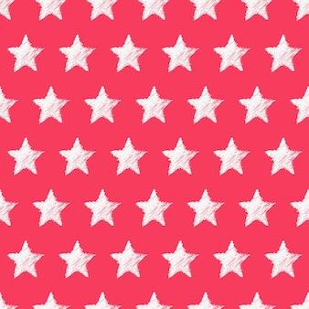 赤い背景に手描きの白い星とのシームレスなパターン。抽象的なグランジテクスチャ。ベクトルイラスト