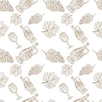 Seamless pattern with hand drawn wine bottle, wine glass and grapes.  element for poster, card, banner, menu, flyer, package.  illustration