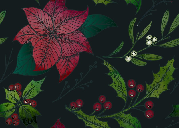 Seamless pattern with hand drawn winter plants.