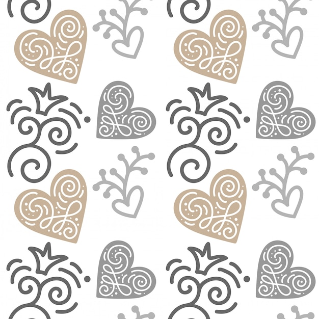 Seamless pattern with hand painted hearts. illustration valentine's day