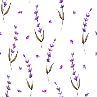 Seamless pattern with hand painted lavender and petals