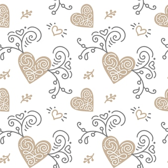 Seamless pattern with hand painted leaves in scandinavian style on white
