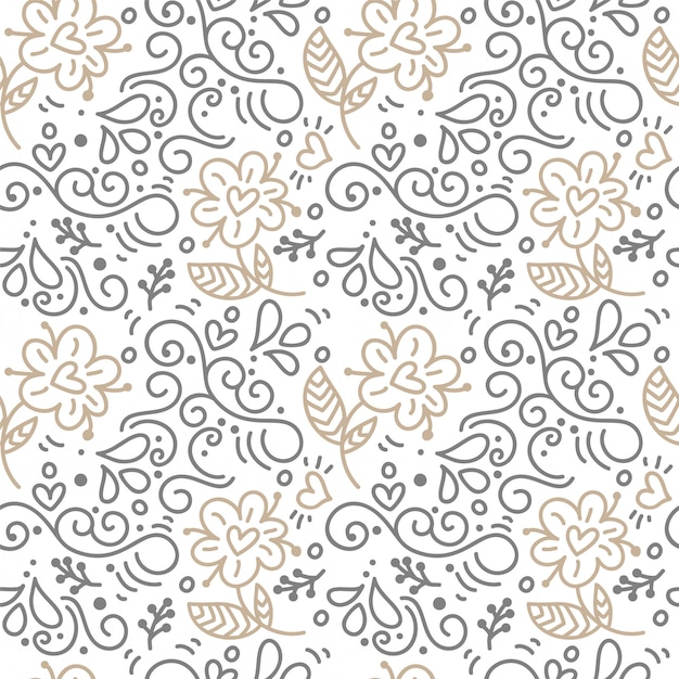 Seamless pattern with hand painted leaves