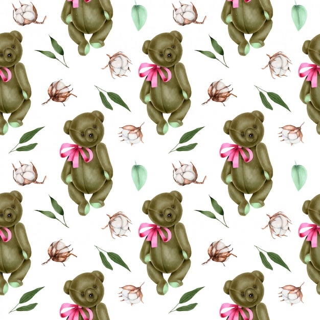 Seamless pattern with hand painted soft plush teddy bears and cotton flowers