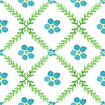 손으로 완벽 한 패턴 그린 수채화 꽃과 brunches