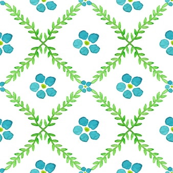 Seamless pattern with hand painted watercolor flowers and brunches
