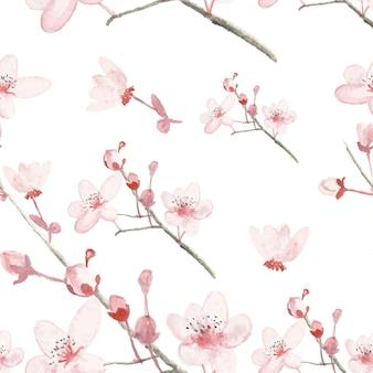 手描きの水彩花とのシームレスなパターン