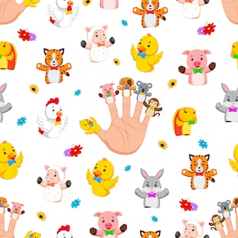 Seamless pattern with hand wearing cute finger puppets