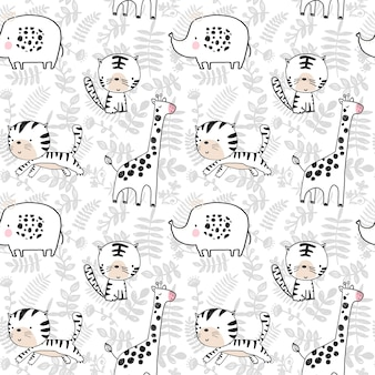 Seamless pattern with handdrawn tiger elephant giraffe and plants vector illustration