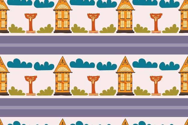 手作りの家とのシームレスなパターン手描きの描画窓と屋根のある家