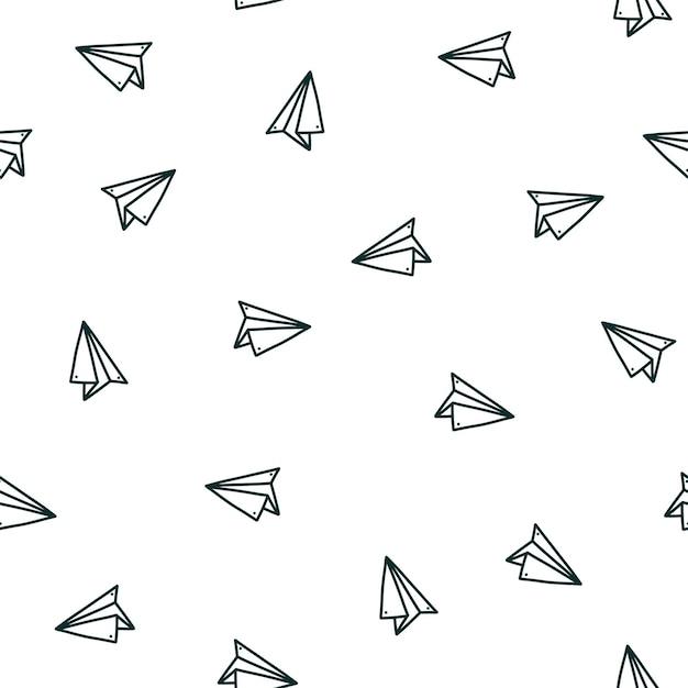 손으로 그린 종이 비행기 낙서 스타일의 벡터 일러스트와 함께 완벽 한 패턴