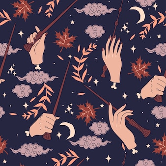 Seamless pattern with hands and magic wands