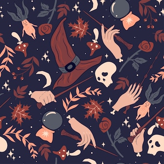 Seamless pattern with hands and magic wands.