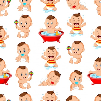 Seamless pattern with happy babys doing the activities