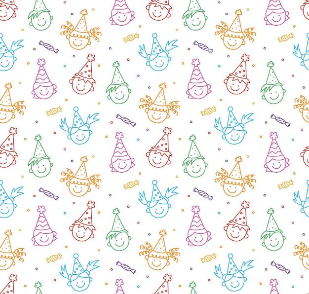 생일 축하 한다면 완벽 한 패턴입니다. 재미있는 아이들의 얼굴. 재미있는 휴가에 축제 모자를 쓴 아이들