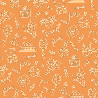 Seamless pattern with happy birthday doodles. sketch of party decoration, funny smily children face, gift box and cute cake. children drawing. hand drawn vector illustration on orange background. Premium Vector