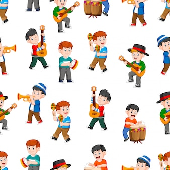 Seamless pattern with happy boys playing music