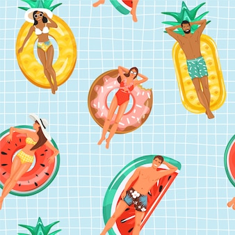 Seamless pattern with happy people floating on inflatable ring