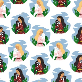 Seamless pattern with happy pet owners,people and pets, cats, vector illustration in flat style.