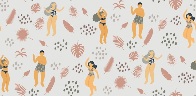 Seamless pattern with happy young people dancing in swimsuit surrounded by tropical leaves