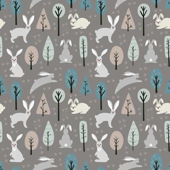 Бесшовный фон с зайцем, кроликом и различными элементами. иллюстрация рисованной в скандинавском стиле.