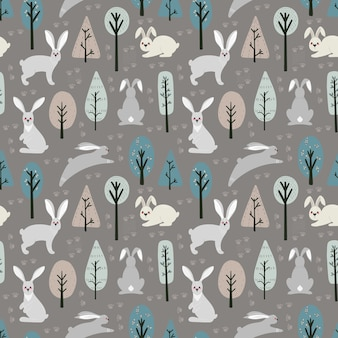 Seamless pattern with hare, rabbit and different elements. illustration hand drawn in scandinavian style.