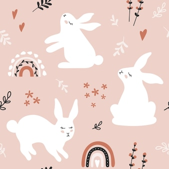 Seamless pattern with hares branches and flowers