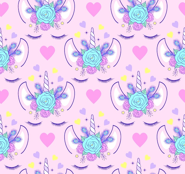 Seamless pattern with head of unicorn