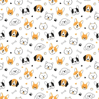 Seamless pattern with heads of different breeds dogs. corgi, beagle, chihuahua, terrier, pomeranian. texture with dog faces. hand drawn vector illustration in doodle style on white background