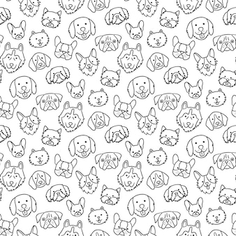 Seamless pattern with heads of different breeds dogs.