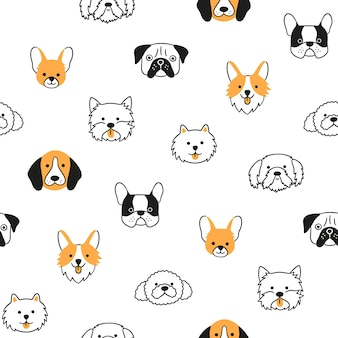 Seamless pattern with heads of different breeds dogs
