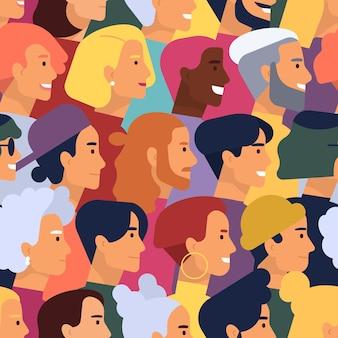 귀여운 웃는 젊은이와 노인 남녀의 머리와 다양 한 헤어 스타일으로 완벽 한 패턴입니다.